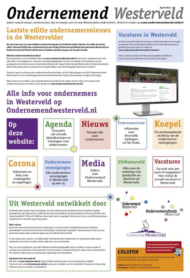 Laatste pagina Ondernemend Westerveld in de Westervelder